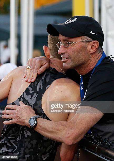 Nike Oregon Project coach Alberto Salazar congratulates Galen Rupp after he won the Men's 10000 meter run during day one of the 2015 USA Outdoor...