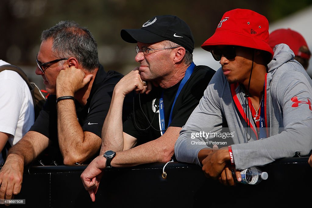 Nike Oregon Project coach <a gi-track='captionPersonalityLinkClicked' href=/galleries/search?phrase=Alberto+Salazar&family=editorial&specificpeople=3459884 ng-click='$event.stopPropagation()'>Alberto Salazar</a> (C) watches the Women's 1,500 Meter Run during day two of the 2015 USA Outdoor Track & Field Championships at Hayward Field on June 26, 2015 in Eugene, Oregon.