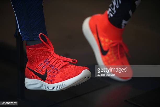 Nike shoes are displayed in a window at a nike store on March 22 2016 in San Francisco California Nike Inc will announce thirdquarter earnings after...