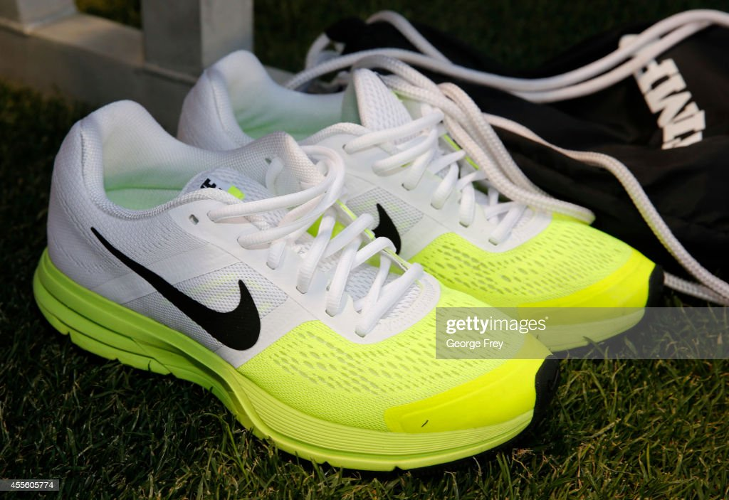 Nike shoes sit by the bench of the United States before an international friendly soccer game against Mexico September 13 2014 at Rio Tinto Stadium...