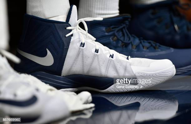 Nike shoes worn by Rudy Gobert of the Utah Jazz during their game against the Maccabi Haifa in preseason action at Vivint Smart Home Arena on October...