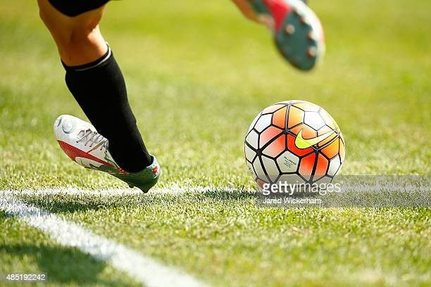 Nike soccer balls are kicked during the match between the United States and Costa Rica at Heinz Field on August 16 2015 in Pittsburgh Pennsylvania