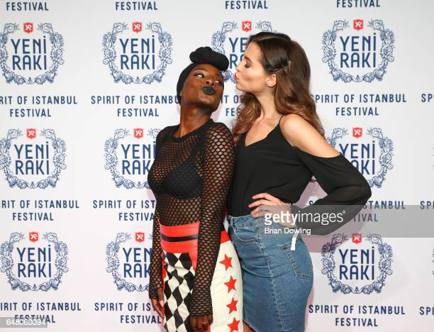 Nikeata Thompson and Fata Hasanovic arrive at the 5th Spirit of Istanbul festival at Arena Berlin on March 4 2017 in Berlin Germany