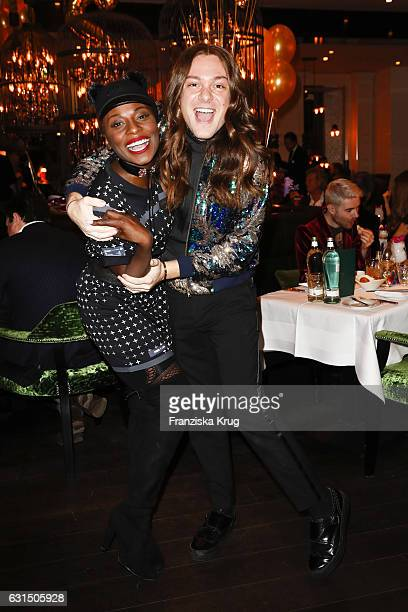 Nikeata Thompson and Riccardo Simonetti attend the 2 year anniversary celebration of the GRACE restaurant at Hotel Zoo on January 11 2017 in Berlin...