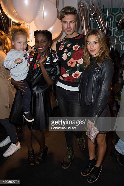 Nikeata Thompson Andre Borchers and Gizem Emre attend the 1st year anniversary celebrations of Tres Click on October 1 2015 in Hamburg Germany