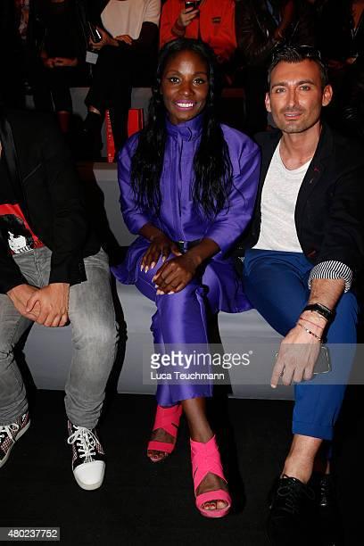 Nikeata Thompson attends the Fyodor Golan show during the MercedesBenz Fashion Week Berlin Spring/Summer 2016 at Brandenburg Gate on July 10 2015 in...