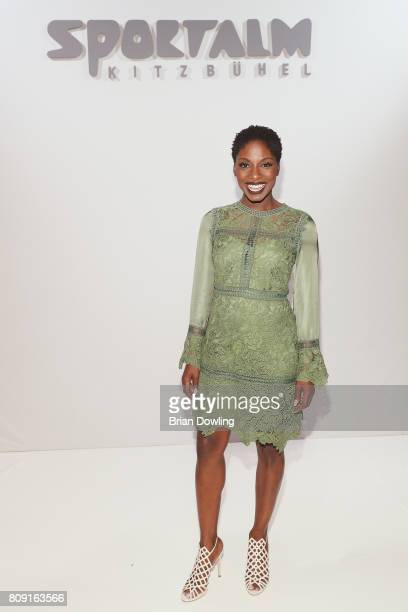 Nikeata Thompson attends the Sportalm Fashion Show Spring/Summer 2018 at Umspannwerk Kreuzberg on July 5 2017 in Berlin Germany