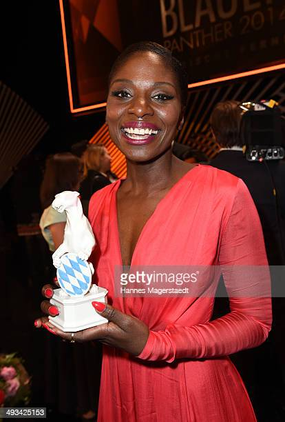 Nikeata Thompson poses with the award during the 'Bayerischer Fernsehpreis 2014' at Prinzregententheater on May 23 2014 in Munich Germany