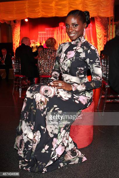 Nikeata Thompson wearing jewellery of Wempe and a dress of Anastasia Janz attends the 25 year anniversary of Wempe at HVB Forum on October 17 2014 in...