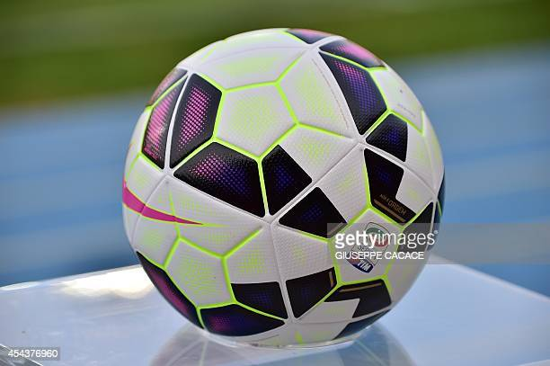 Nike's new ball 'Ordem' for the 2014 2015 Serie A is pictured before the Serie A football match Chievo Verona vs Juventus at the Bentegodi Stadium in...