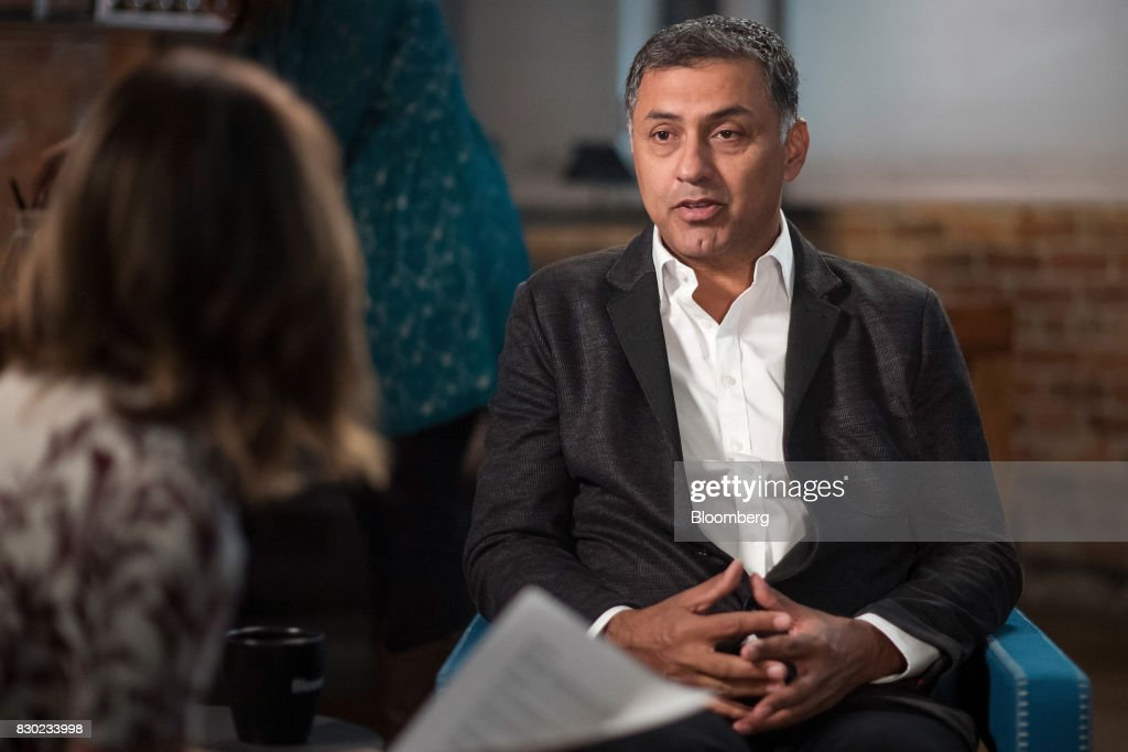 Nikesh Arora, advisor and former president of SoftBank Group Corp., speaks during a Bloomberg Studio 1.0 television interview in San Francisco, California, U.S., on Wednesday, Aug. 9, 2017. SoftBank Group Corp. provides telecommunication services. Photographer: David Paul Morris/Bloomberg via Getty Images