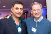 Nikesh Arora of Google and Executive Chairman of Google Inc Eric Schmidt attend the Burda DLD Nightcap 2011 at the Steigenberger Belvedere hotel on...