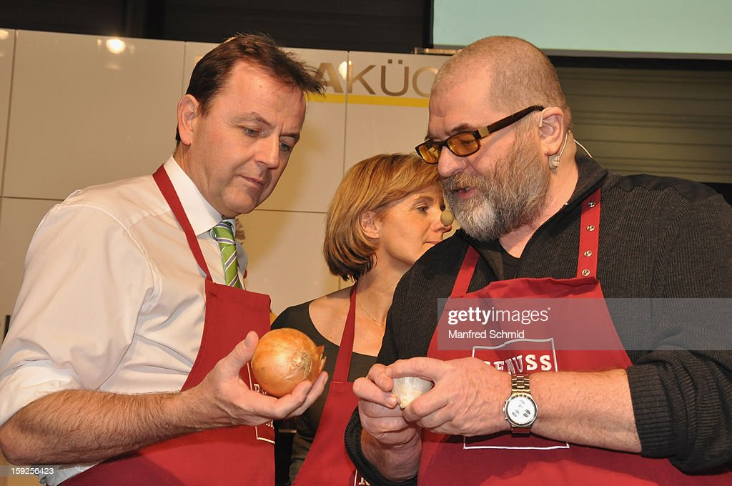 Niki Berlakovich and Erwin Steinhauer attend the cooking duel during the 3rd Cook & Look fair, a part of Vienna Holiday Fair, on January 10, 2013 in Vienna, Austria.