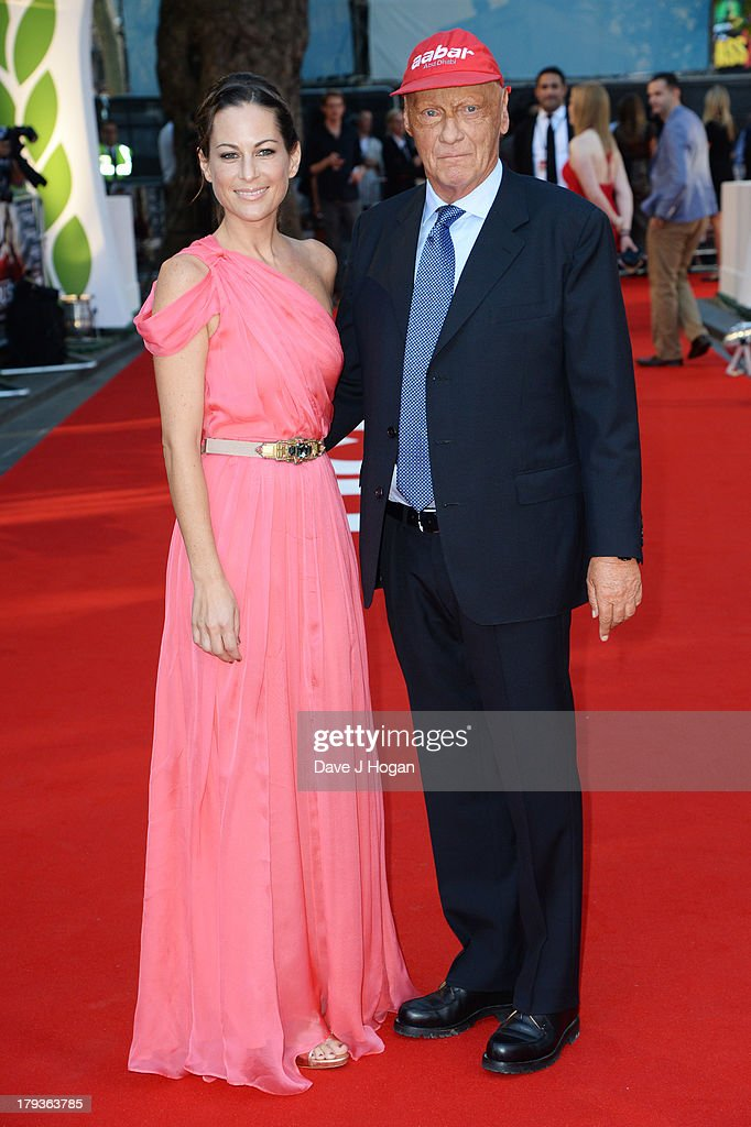 <a gi-track='captionPersonalityLinkClicked' href=/galleries/search?phrase=Niki+Lauda&family=editorial&specificpeople=218060 ng-click='$event.stopPropagation()'>Niki Lauda</a> and Birgit Lauda attend the 'Rush' world premiere at The Odeon Leicester Square on September 2, 2013 in London, England.
