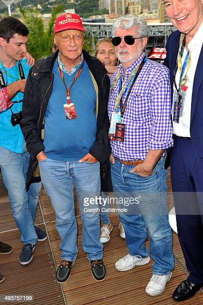 Niki Lauda and George Lucas onboard the Red Bull Energy Station during the Monaco Formula One Grand Prix at Circuit de Monaco on May 25 2014 in...
