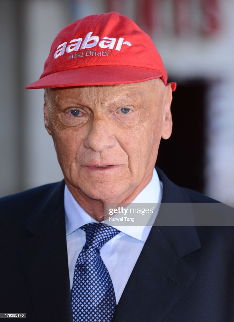 <a gi-track='captionPersonalityLinkClicked' href=/galleries/search?phrase=Niki+Lauda&family=editorial&specificpeople=218060 ng-click='$event.stopPropagation()'>Niki Lauda</a> attends the World Premiere of 'Rush' at the Odeon Leicester Square on September 2, 2013 in London, England.