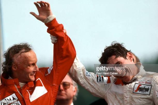 Niki Lauda Ayrton Senna Grand Prix of Great Britain Brands Hatch 22 July 1984 Niki Lauda with a happy Ayrton Senna who scored his first ever podium...