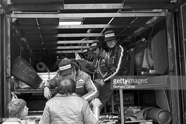 Niki Lauda Clay Regazzoni Luca di Montezemolo Grand Prix of Sweden Anderstorp Raceway 09 June 1974 Technical briefing in the back of the Ferrari...