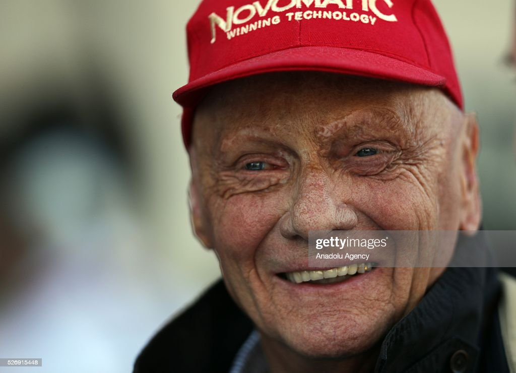Niki Lauda, former F1 pilot, poses during the Formula One Grand Prix of Russia at Sochi Autodrom in Sochi, Russia on May 01, 2016.