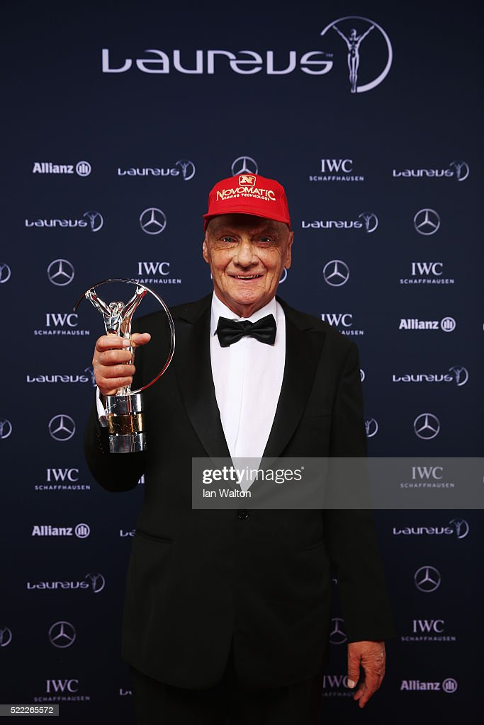<a gi-track='captionPersonalityLinkClicked' href=/galleries/search?phrase=Niki+Lauda&family=editorial&specificpeople=218060 ng-click='$event.stopPropagation()'>Niki Lauda</a>, Mercedes-Benz Motorsport Non-Executive Chairman attends the 2016 Laureus World Sports Awards at Messe Berlin on April 18, 2016 in Berlin, Germany.