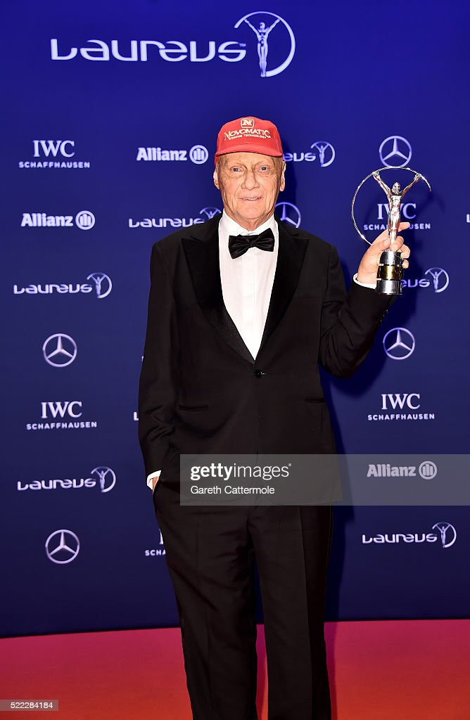 <a gi-track='captionPersonalityLinkClicked' href=/galleries/search?phrase=Niki+Lauda&family=editorial&specificpeople=218060 ng-click='$event.stopPropagation()'>Niki Lauda</a>, Mercedes-Benz Motorsport Non-Executive Chairman with his Laureus Lifetime Achievement Award award during the winners photocall during the 2016 Laureus World Sports Awards at the Messe Berlin on April 18, 2016 in Berlin, Germany.