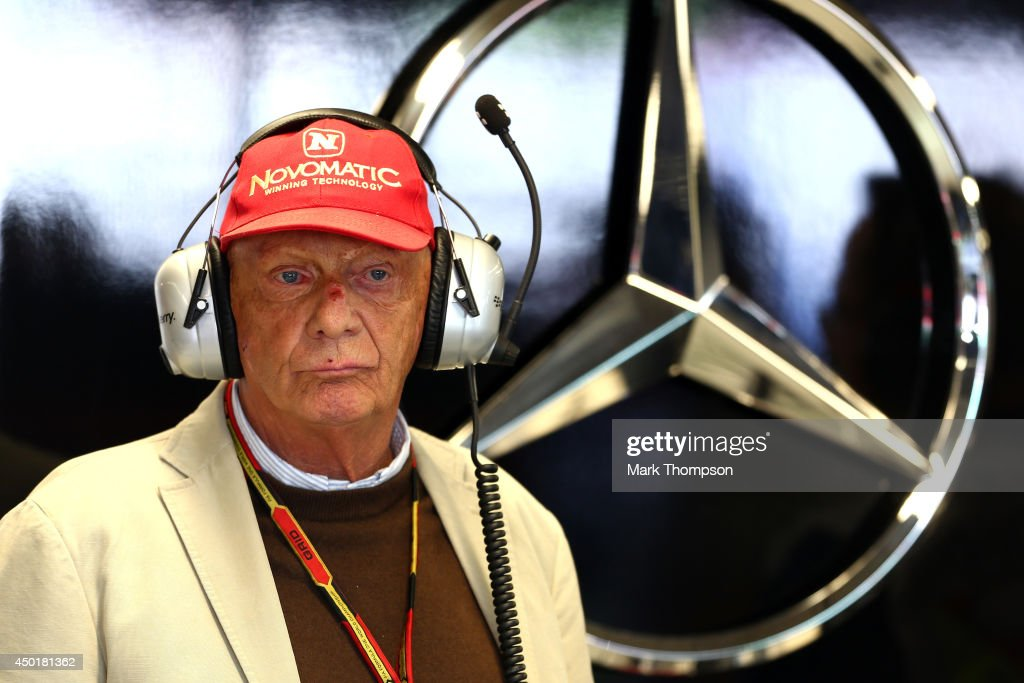 <a gi-track='captionPersonalityLinkClicked' href=/galleries/search?phrase=Niki+Lauda&family=editorial&specificpeople=218060 ng-click='$event.stopPropagation()'>Niki Lauda</a>, non-executive chairman of Mercedes GP watches the action from the Mercedes garage during practice ahead of the Canadian Formula One Grand Prix at Circuit Gilles Villeneuve on June 6, 2014 in Montreal, Canada.