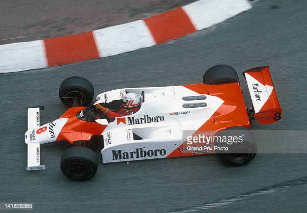 Niki Lauda of Austria drives the Marlboro McLaren International McLaren MP4B Ford Cosworth DFV V8 during the Monaco Grand Prix on 23rd May 1982 on...