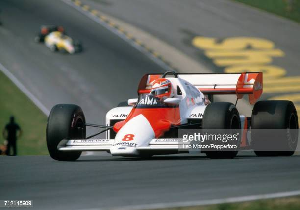 Niki Lauda of Austria enroute to a first place finish during the British Grand Prix at Brands Hatch England driving a McLaren MP4/2 with a TAG TTE...
