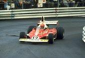 Niki Lauda of Austria in action in his Scuderia Ferrari during the Monaco Grand Prix at the Monte Carlo circuit in Monaco Lauda finished in first...