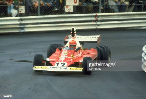 Niki Lauda of Austria in action in his Scuderia Ferrari during the Monaco Grand Prix at the Monte Carlo circuit in Monaco Lauda finished in first...