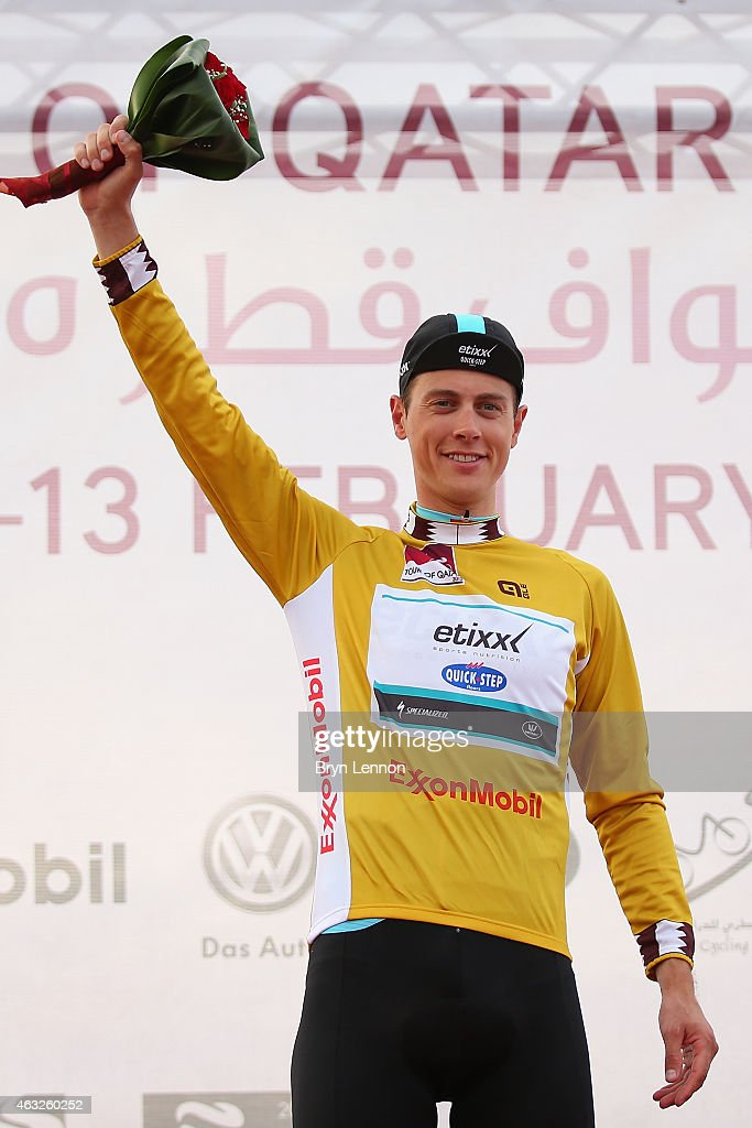 <a gi-track='captionPersonalityLinkClicked' href=/galleries/search?phrase=Niki+Terpstra&family=editorial&specificpeople=609813 ng-click='$event.stopPropagation()'>Niki Terpstra</a> of The Netherlands and Etixx - Quick-Step retained his race leaders gold jersey after stage five of the 2015 Tour of Qatar, a 153km road stage from Al Zubarah Fort to Al Madinat Al Shamal on February 12, 2015 in Al Madinat Al Shamal, Qatar.