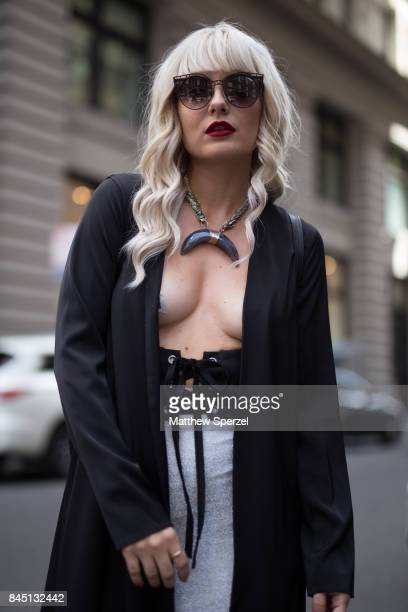 Nikia Provenzano is seen attending Banana Republic x Olivia Palermo during New York Fashion Week wearing Revolve NBD Barbara Pellegrino Hours on...
