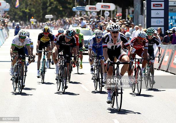 Nikias Arndt of Germany and Team Sunweb crosses the line to win during the 2017 Cadel Evans Great Ocean Road Race on January 29 2017 in Geelong...