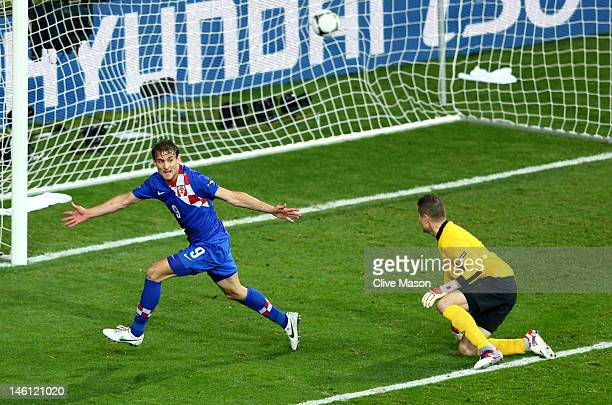 Nikica Jelavic of Croatia celebrates scoring their second goal during the UEFA EURO 2012 group C between Ireland and Croatia at The Municipal Stadium...