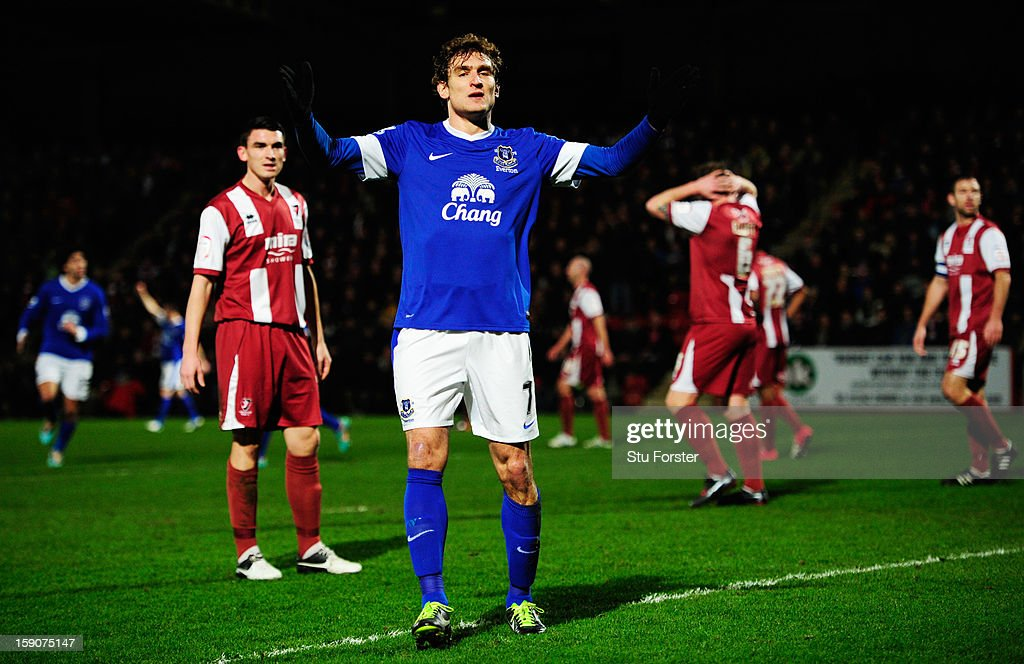 Nikica Jelavic of Everton celebrates as he scores their first goal during the FA Cup with Budweiser Third Round match between Cheltenham Town and Everton at Abbey Business Stadium on January 7, 2013 in Cheltenham, England.
