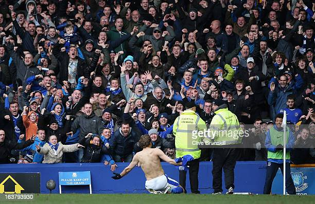 Nikica Jelavic of Everton celebrates scoring the second goal during the Barclays Premier League match between Everton and Manchester City at Goodison...