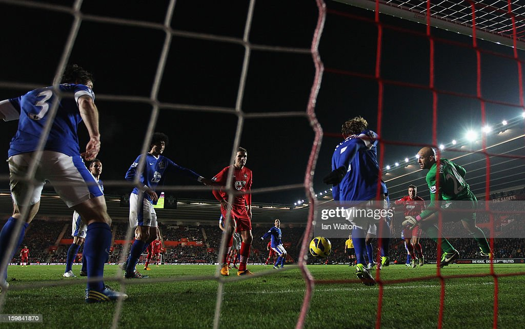 Nikica Jelavic of Everton (7) clears the ball away from his goal during the Barclays Premier League match between Southampton and Everton at St Mary's Stadium on January 21, 2013 in Southampton, England.