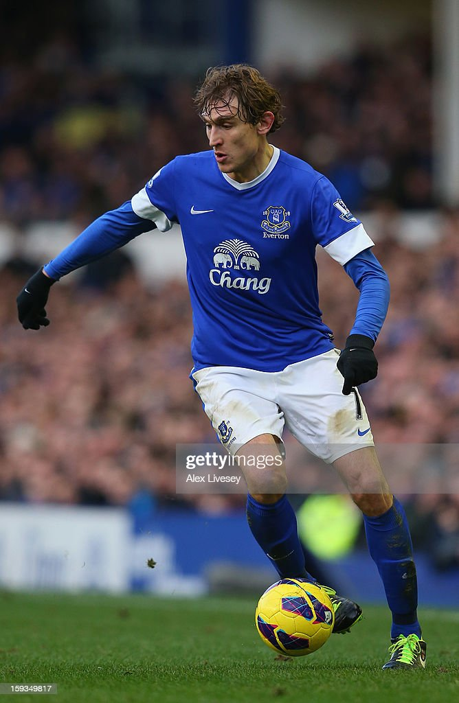 Nikica Jelavic of Everton controls the ball during the Barclays Premier League match between Everton and Swansea City at Goodison Park on January 12, 2013 in Liverpool, England.