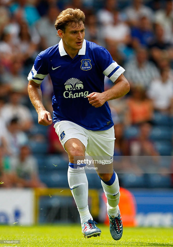 <a gi-track='captionPersonalityLinkClicked' href=/galleries/search?phrase=Nikica+Jelavic&family=editorial&specificpeople=5986831 ng-click='$event.stopPropagation()'>Nikica Jelavic</a> of Everton in action during the Pre Season Friendly match between Blackburn Rovers and Everton FC at Ewood Park on July 27, 2013 in Blackburn, England.