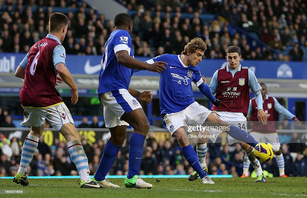 Nikica Jelavic of Everton shoots at goal during the Barclays Premier League match between Everton and Aston Villa at Goodison Park on February 2, 2013 in Liverpool, England.