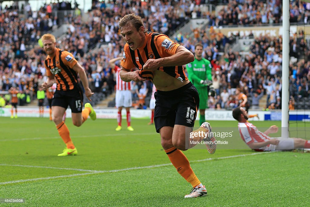 Nikica Jelavic of Hull celebrates after scoring their 1st goal during the Barclays Premier League match between Hull City and Stoke City at the KC Stadium on August 24, 2014 in Hull, England.