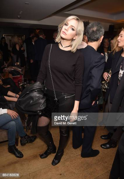 Nikita Andrianova attends the ICONIC PR LND and PerrierJouët art presention of works by Picasso Miro Matisse Chagall at QP LDN on March 16 2017 in...