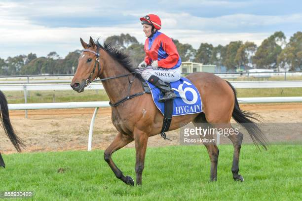 Nikita Beriman returns to the mounting yard on Hazard Ahead after winning the Member for Gippsland East Tim Bull BM64 Handicap at Bairnsdale...