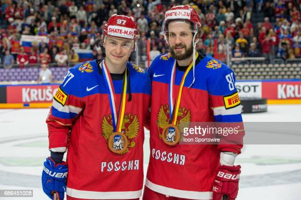 Nikita Gusev and Nikita Kucherov with bronze medals after the Ice Hockey World Championship Bronze medal game between Russia and Finland at Lanxess...