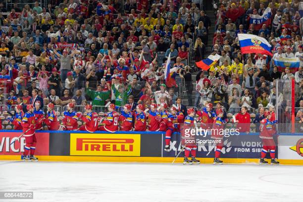 Nikita Gusev celebrates his goal with teammates during the Ice Hockey World Championship Bronze medal game between Russia and Finland at Lanxess...