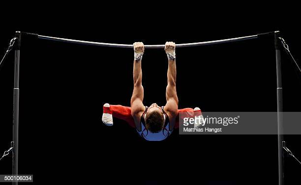Nikita Ignateyev of MTV Stuttgart competes in the High Bar during the DTL Finals 2015 at Messehalle 2 on December 5 2015 in Karlsruhe Germany