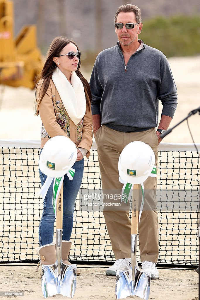 Nikita Kahn and Larry Ellison, tournament owner and CEO of Oracle, attend the ground breaking ceremony for the Indian Wells Tennis Garden expansion during the BNP Paribas Open at the Indian Wells Tennis Garden on March 8, 2013 in Indian Wells, California.