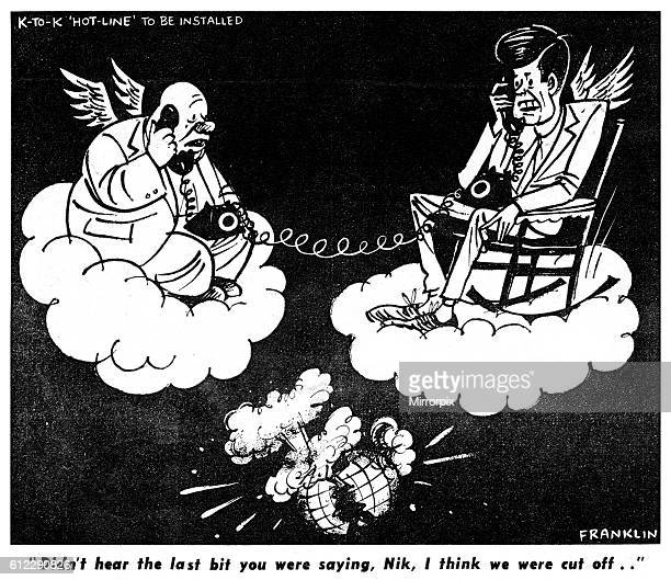 Nikita Khrushchev and President Kennedy sitting on clouds each wearing a pair of wings both on the telephone as the world is consume by a nuclear...
