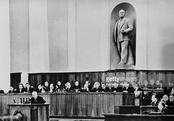 Nikita KHRUSHCHEV first secretary of the central committee of the Soviet Union Communist Party giving a speech during the 20th Congress of the Soviet...