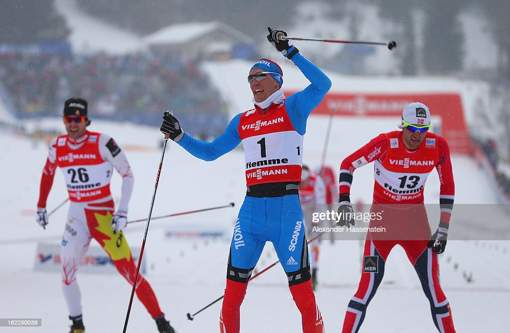 <a gi-track='captionPersonalityLinkClicked' href=/galleries/search?phrase=Nikita+Kriukov&family=editorial&specificpeople=4907513 ng-click='$event.stopPropagation()'>Nikita Kriukov</a> of Russia celebrates victory in the Men's Cross Country 1.5km Classic Sprint Final at the FIS Nordic World Ski Championships on February 21, 2013 in Val di Fiemme, Italy.